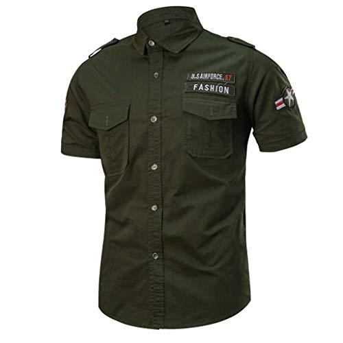 6946c4ff03c56 Sommerhemd Kurze Npradla Grün Tops Armee Militärische Lose Beiläufige Top  Farbe Reine Bluse Männer Taschenhülse xhsdortQCB