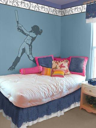 SOFTBALL girl SPORT Wall paper SUDDEN SHADOWS Decor Art