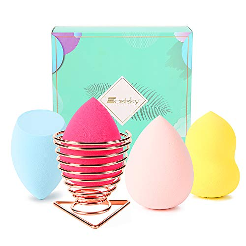 Beauty Blender,Makeup Sponge Blender Set Beauty Makeup Sponges Latex-free Blender for Foundation Blending Concealer Flawless Cream Sponge with Beauty Blender Holder (4colors+1 beauty blender holder)