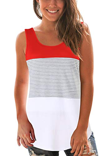 Women Striped Tank Tops for Summer Sleeveless Tee Shirts Red M ()