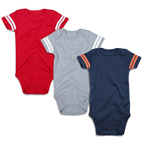 ROMPERINBOX Infant Solid Baby Football Sport Jersey Bodysuits 3 Pack 0-24 Months (0-3 Months, Sports Grey Red Navy Short Sleeve 3 - Baby Sports Jerseys