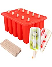 Nuovoware Ice Pop Molds, [Cavity of 10] Food Grade Silicone Frozen Ice Popsicle Makers with 100 Sticks, Kitchen Tools, Red