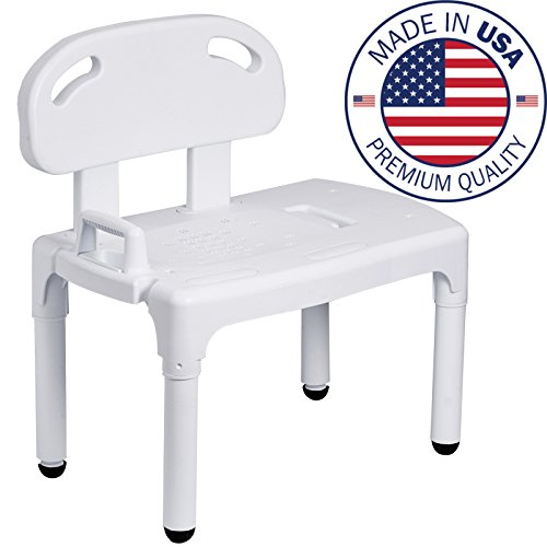 Bathtub and Shower Transfer Bench Chair with Exact Level Patented Height Adjustment by Vaunn