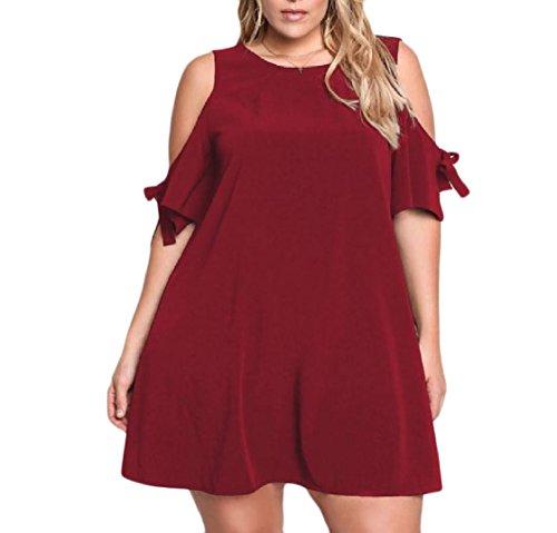 Rosso Festa Plus donne Fredda Giardino In Comodo size Vestito Spalla Vino Arco Solido Coolred 84q4ftx7