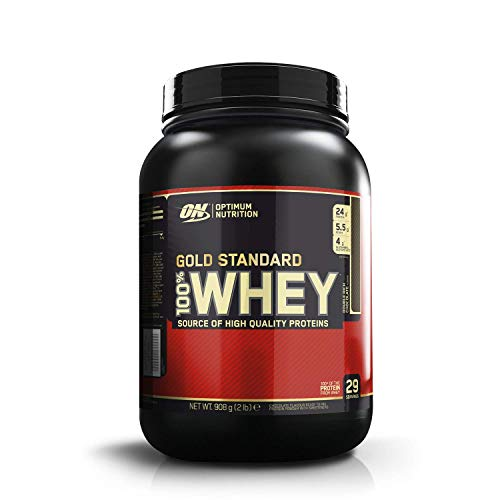 Optimum Nutrition Gold Standard Whey Protein Powder Muscle Building Supplements with Glutamine and Amino Acids, Double Rich Chocolate, 29 Servings, 908 g