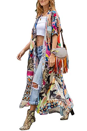 Cardigan Cotton Long - Kimono Women' s Kimono Cardigan Beach Cover up Floral Print Short Sleeve Loose Open Front Cotton Cardigans Duster (282)