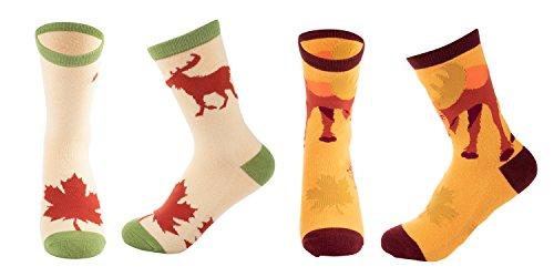 2-Pair Girls Crew Socks - Moose Animal Print, Kids Casual Socks