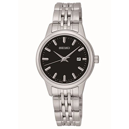 Seiko Quartz Black Dial Silver Plated Stainless Steel Women
