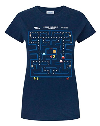 Offiical Pacman Classic Action Scene Womens T-Shirt, Blue. Sizes S to XXL.