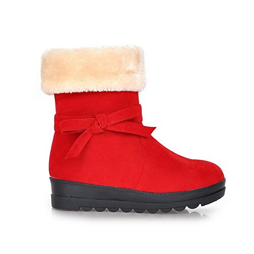 AllhqFashion Womens Frosted Closed Round Toe Solid Low-top Low-Heels Boots Red QKZK2KNVwr