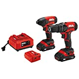 SKIL 2-Tool Combo Kit: 20V Drill Driver and Impact Driver, Includes Two 2.0Ah Lithium Batteries, PWRAssist USB Charging Adapter and Charger - CB739201