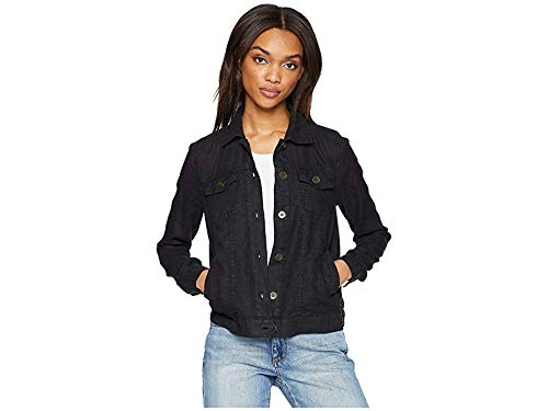 Michael Stars Women's Woven Linen Jean Jacket Black Medium