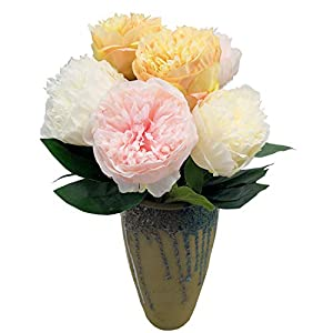 cn-Knight Artificial Flower 6pcs Silk Peony Real Touch Bundle Fake Flower for Wedding Bridal Bouquet Bridesmaid Groomsman Home Décor Office Baby Shower Party Centerpieces(Color Mix-1) 85
