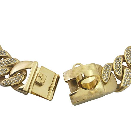 MUJING 30 mm Wide Hip Hop Gold Tone Cut Curb Cuban Link Inlaid Rhinestone 316L Stainless Steel Dog Choke Chain Collar 25-76CM,K by MUJING (Image #3)
