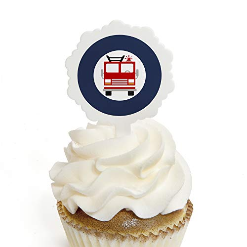 (Fired Up Fire Truck - Cupcake Picks with Stickers - Firefighter Firetruck Baby Shower or Birthday Party Cupcake Toppers - 12)