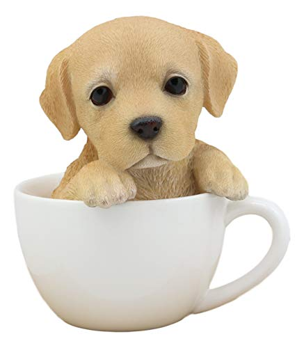 (Ebros Realistic Adorable Labrador Puppy Teacup Statue 5.5