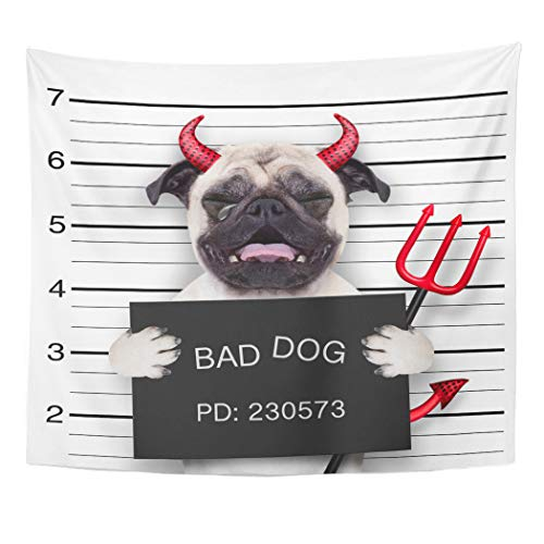 Tinmun Tapestry Halloween Devil Pug Dog Crying in Mugshot Caught Wall Hanging for Living Room Bedroom Dorm 60x80 inches -