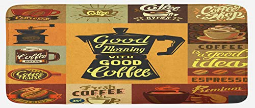 Lunarable Vintage Modern Kitchen Mat, Retro Coffee Themed Slogans on Checkered Squares and Rectangle Backdrop, Plush Decorative Kithcen Mat with Non Slip Backing, 47
