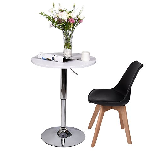 35 Inches Round Bar Table Adjustable Height Chrome Metal and Wood Cocktail Pub Table MDF Top 360°Swivel Furniture (White 1) by PULUOMIS (Image #8)