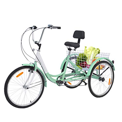 Barbella Adult Tricycle, 24-Inch Single and 7 Speed Three-Wheeled Cruise Bike with Large Size Basket for Recreation, Shopping, Exercise Men's Women's Bike (7 Speed Green)