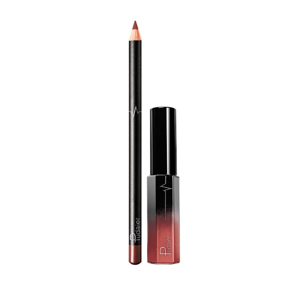 EUCoo Donna rossetto matte Lucidalabbra Fodera per labbra set Due pezzi durevole lucente Rossetto di moda
