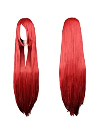 "RoyalStyle 32""80cm Women's Long Straight Wig Cosplay Heat Resistant Wig Party Hair (Red)"