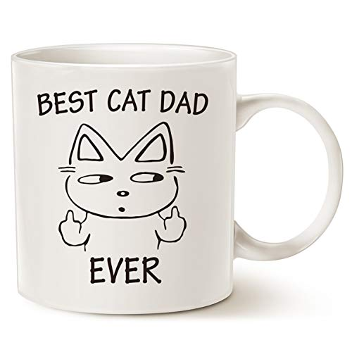 MAUAG Funny Christmas Gifts Cat Dad Coffee Mug for Cat Lovers, Best Cat Dad Ever Best Cute Father