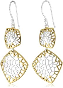 """Argento Vivo """"Prism"""" 18K Gold Plated Sterling Silver Two-Tone Double Drop Prism Earrings"""