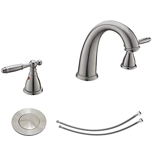 KINGO HOME Commercial Solid Brass Lavatory Three Holes Widespread Two Handle Brushed Nickel Bathroom Faucets, Bathroom Sink Faucet with Pop Up Drian & Water Supply Hoses