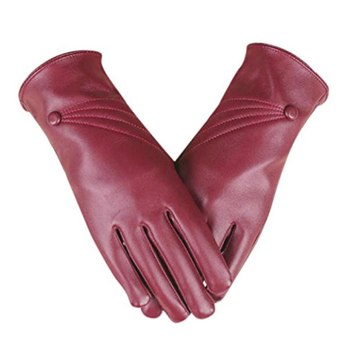 Price comparison product image AIMTOPPY Luxurious Women Girl Leather Winter Super Warm Gloves With touch screen function (Red,  free)