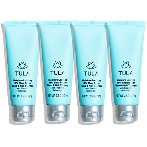 - TULA Probiotic Skin Care Moisture-Lock 18% Hand & Nail Therapy | Hand Cream with Shea Butter and Jojoba, Fast-Absorbing Moisture Relief | 2.5 oz x 4