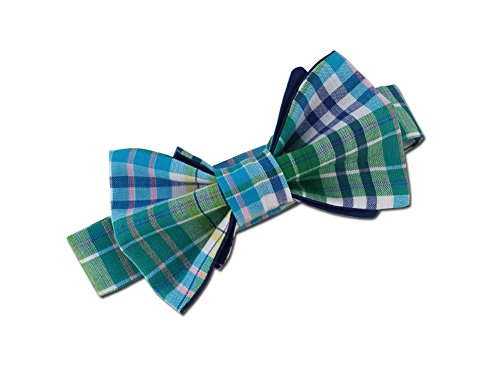 Juxby Boy's Blue-Green Plaid Bow Tie