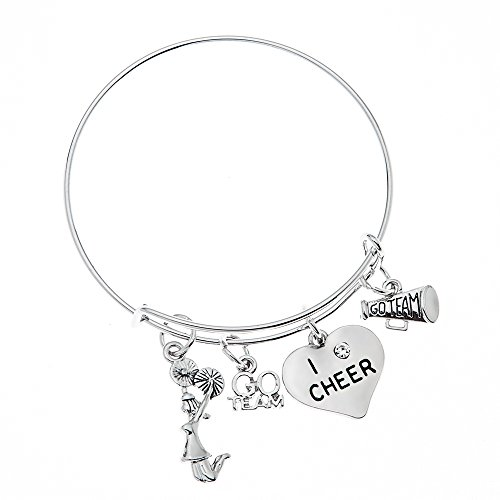 Infinity Collection Cheer Bracelet- Cheerleading Bracelet- Adjustable Cheerleader Charm Bangle Bracelet- Cheer Jewelry for Cheerleaders & Cheer -
