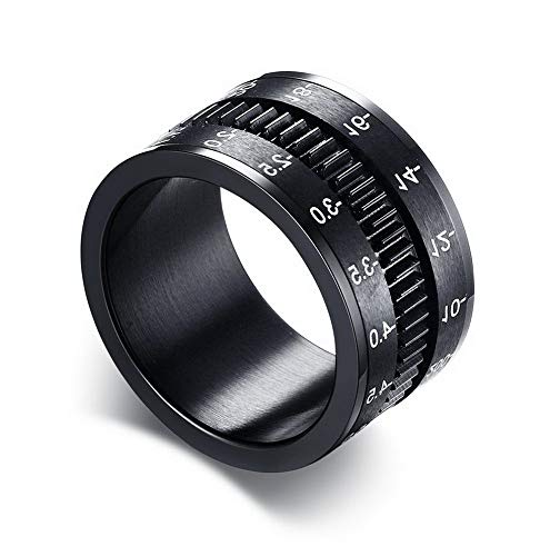 Campton Mens Ring Rotate Camera Black Unique 12MM Width Stainless Steel Middle Spinner | Model RNG - 417 | 9