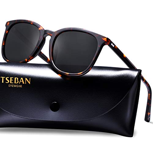 T.SEBAN Retro Polarized Sunglasses for Women Classic Vintage Designer Style Acetate Frame UV400 ()