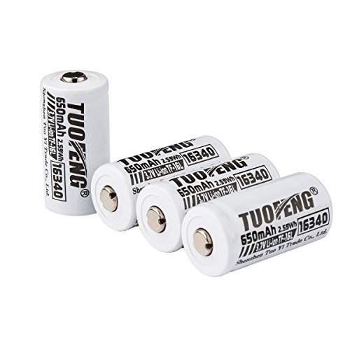 Price comparison product image TUOFENG Cr123a Rechargeable Batteries Real 650 mAh 3.7V 16340 Lithium Batteries Cr123a Batteries 4 Packs for Rechargeable Flashlight, arlo Camera