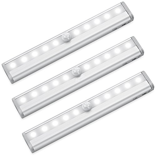Motion Sensor Closet Lights RUOYIER Portable Wireless 10-LED Stick-on anywhere Cabinet motion sensing light with Magnetic Strip for Wardrobe Stairs Step Night Light Bar(Battery Operated 3-pack) by Ruoyier