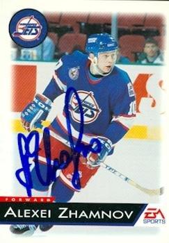 Autograph Warehouse 64765 Alexei Zhamnov Autographed Hockey Card Winnipeg Jets Ea Sports 147 ()