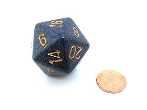 Jumbo d20 Counter - Speckled 34mm Dice  Golden Cobalt by Chessex