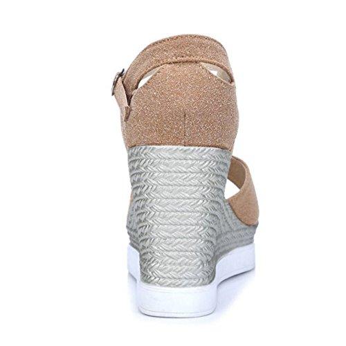 RAZAMAZA Mujer Moda Comodo Tacon de Cuna Peep Toe Sandalias con Hebilla albaricoque
