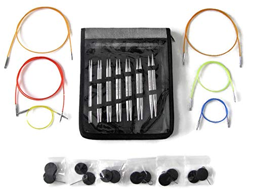 Knitter's Pride Cubics Platina Deluxe Interchangeable Needle Set Bundle with 6 Cords (KP320451) (Knitting 11' Circular Needles)
