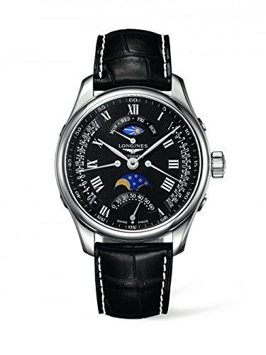 新しいLonginesマスターコレクション自動ブラックダイヤルレザーストラップメンズ腕時計l2.739.4.51.7 B009TBXBRK