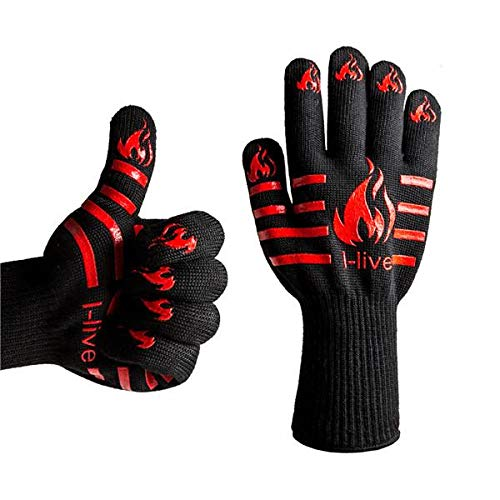 932°F Silicone Heat Resistant BBQ Cooking Oven Mitt Grilling Gloves Pot Holder
