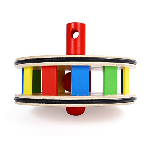 Ireav Baby Walking Toys Push Pull Rainbow Wheel Kids Infant Early Development Wooden Single Rod Hand Pushed Toy Gift by Ireav (Image #2)