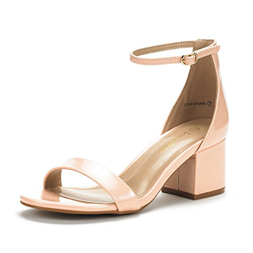 (DREAM PAIRS Women's Low-Chunk Blush Pat Low Heel Pump Sandals - 10 M US)