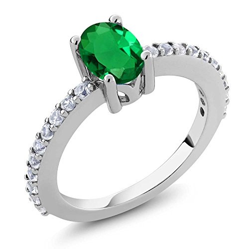 Gem Stone King 1.54 Ct 7x5mm Green Simulated Emerald and White Created Sapphire 925 Silver Ring (Size -