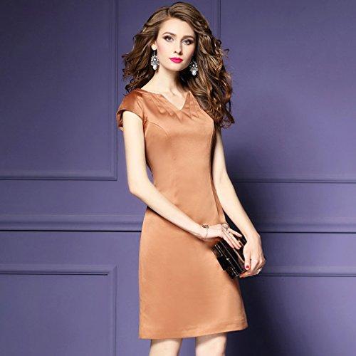 Couleur Unie Cotylédons Women`s Robes Slim Fit La Mode Robe Une Ligne