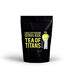 Tea Of Titans Citrus Kick, 50 Gm 25+ Servings, Loose Leaf Tea Blend with Safflower Petals, Green Tea, Pu-Erh Tea Leaves, Pieces of Turmeric & Ginger, Lower Caffeine Alternative to Coffee for Keto Diet