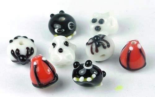 8 Lampwork Handmade Glass Halloween Beads - Trick or Treat II Spider - Craft DIY Jewelry Making Beads