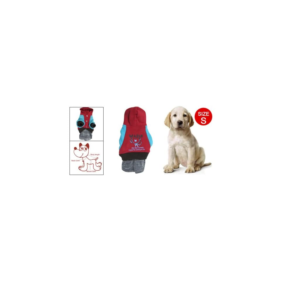 Como S Blue Red Bear Print Hoodie Press Stud Pet Dog Costume Dress